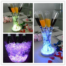 Wholesales 4/6/8 inch Led illuminated ice buckets bottle wine beer led glow ice cubes for party wedding event decoration