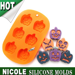 B0142 Nicole Halloween pumpkin silicone molds for microwave cake