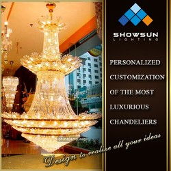 Project new design flower shaped lace hotel large cristal light