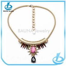 Ladies gold choker acrylic charm decorate teardrop pendant jewelry necklace