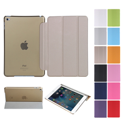 Hot Sales fashion One Piece PU smart cover for iPad mini 4 case folded 3 styles ultra slim leather case