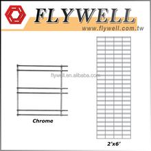 Chrome 2'x6' Welded Wire Mesh Slat Grid Panel Display