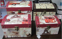 Wholesale cheap 4 in 1 high-end handmade antique cardboard storage suitcase shaped gift boxes