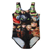 Latest Fashion How to Train Your Dragon Models Kids Swimsuit SV005