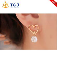 New arrival hot sale rhinestone crystal gold plated heart shape pendant stud earrings for women /