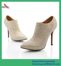 BD00004 hot sale new design rhinestone genuine leather fashion lady high heel dress shoes 2015