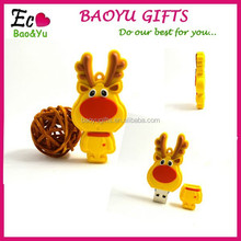 Christmas USB Flash Drive lovely deer soft yellow back pad LOGO USB Flash Drive Christmas gift