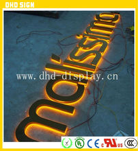 2015 waterproof advertising back light 3D acrylic channel letter with a backboard signs for shop logo