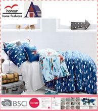 Blue boys helicopter pattern soft polyester filled printed bedding duvet quilt