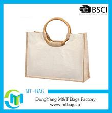 Waterproof jute shopping bag with bamboo handles