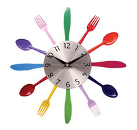 2015 color spoon knife and fork wall clock with rohs clock movement