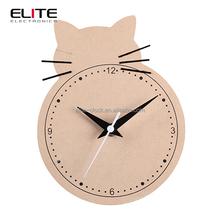 quartz wooden table clock in cat fish owl shape