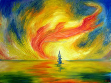 art supplies Abstract Painting abstract boat painting small fishing boats sunset oil painting on canvas for home decor