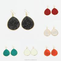 Druzy Gold Dust Epoxy Tear Drop Pendant Latest Fashion Earrings 12 Pairs A Lot sIx Colors Mixed Wholesale