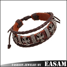 Punk style vintage genuine leather wrap bracelet with cross wholesale