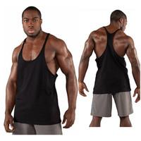 Y back tank tops for men 100% cotton bodybuilding stringer