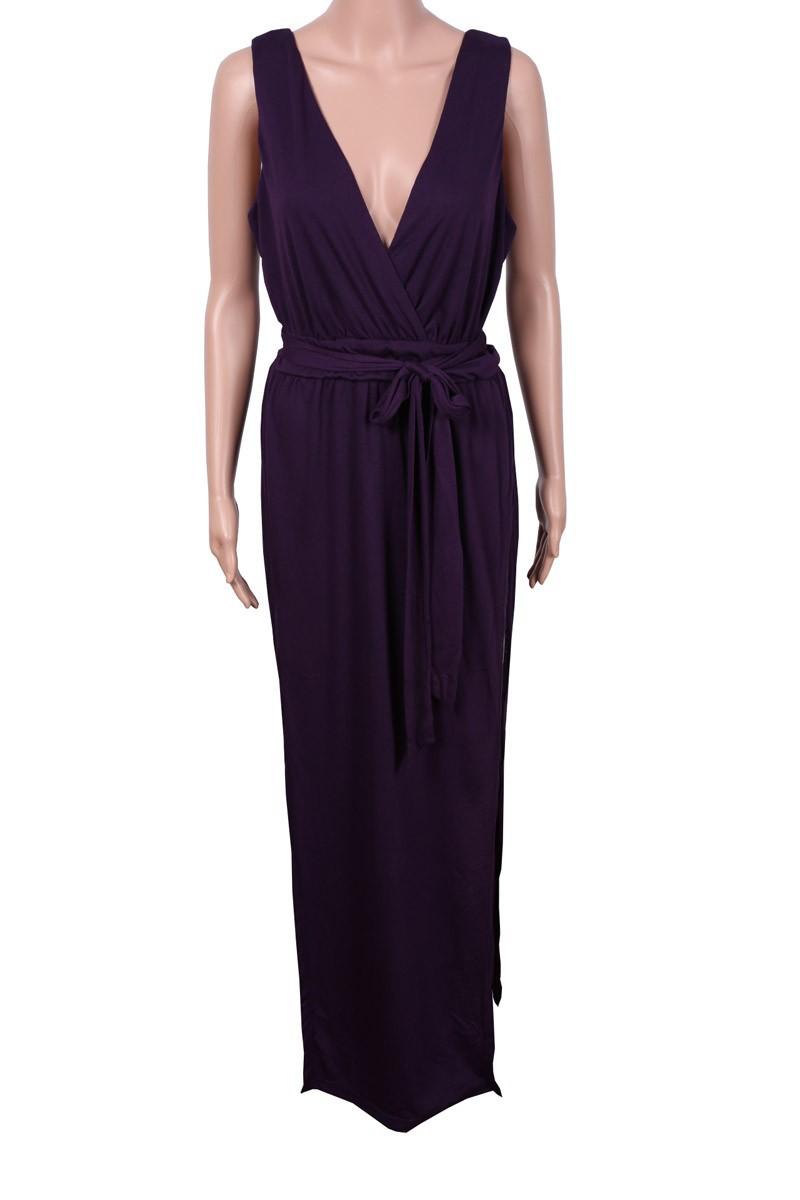 Новая мода лето фиолетовый макси платья повседневные платья сексуальное платье lq4539