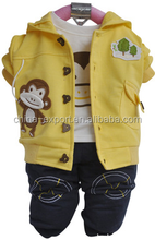 JYY-101 2015 wholesale fashion spring autumn hot sale new european monkey white hoodie+coat+jean trousers boys suits 3 piece