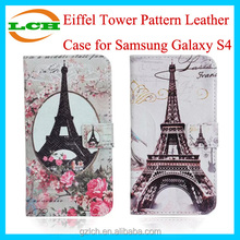 Unbreakable Eiffel Tower Pattern Wallet Leather Mobile Phone Case for Samsung Galaxy S4 i9500