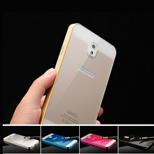 For Samsung Galaxy Note 4 Note 3 S5 S4 Acrylic Glass Back Cover +Aluminum Metal Arc Bumper Case For Samsung Galaxy S4 S5 Note3