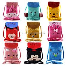 Mix designs wholesale plush cute cartoon kids mobile hanging pouch