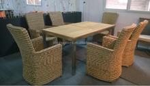 Muebles de jardín de mimbre silla y de madera de teca mesa puesta SOF1200