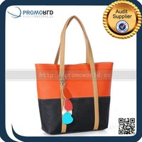 2015 New Colorful Cheap Fashion Quality Lining Shopping Leather Tote Bag