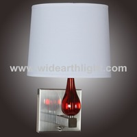 UL Listed Single Wall Lamp Show In Red/Brushed Nickel With On/Off Switch At Back Plate W20120