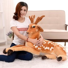 wholesale sika deer big size plush deer toy/brown spotted deer from Shenzhen