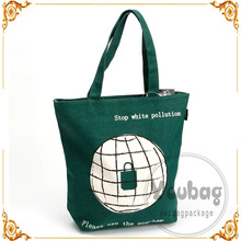 Factory Durable plain green cotton canvas tote bag