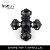 2015 latest new model wholesale unique rhinestone rings set black stones cross elastic ring