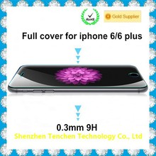 China supplier full cover for iphone 6 plus screen protector glass with 9h hardness