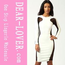 nuevo diseño de venta al por mayor blanco bodycon vestido de falda de las últimas imágenes de diseño