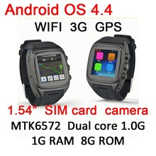 new wrist WCDMA GPS 3G wifi android smart watch phone on best wholesale websites with 5M camera MTK6572 dual core 1G RAM 8G ROM