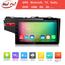 New Coming Android4.4 Quad-core 10.1 inch radio auto for Honda Fit 2014 with 16GB Nand Flash,1024 * 600 pixel