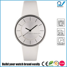 Wrist watch with strap in leather and case in steel whole white japan movement water resistant 3ATM royal watch