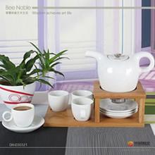 2015 wholesale new style plain white ceramic tea set with wooden holder