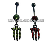 Wholesale Surgical Steel Monster Green and Pink Dangle Belly Navel Ring EC627