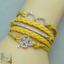 2014 New Design Europe Fashion vintage Charm Elegant believe dream love Infinity cross Multilayer Leather Bracelet