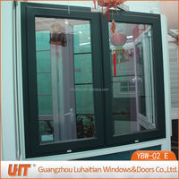 pvc frame steel inside double casement sash window with colored profile