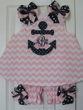 Anchor Nautical Pink Chevron Monogram Initial Bloomer Set Birthday Outfit Summer...