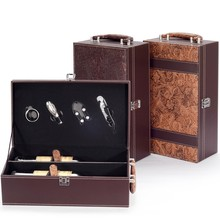 High class leather wine box carrier