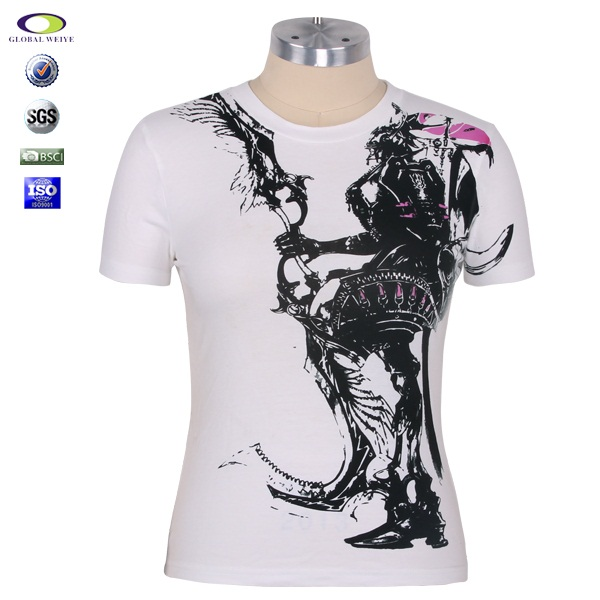 Wholesale custom white women t shirt printed from china T shirt printing china