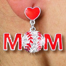 Lead, Cadmium, & Nickle Free Silver Clear Rhinestone Baseball Mom Feature Red, Hand Painted Heart On Post Earring