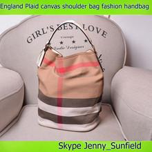 England Plaid shoulder bag genuine leather 2015 fashion canvas handbag