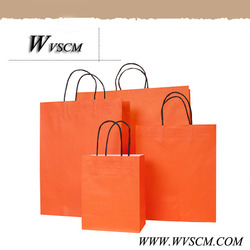 NEW year HOT orange paper bags with handles wholesale