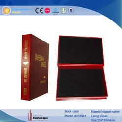 Classical leather book case & gift stroage box with hot stamping logo