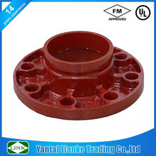 FM/UL Epoxy coated RAL3000 ductile iron grooved x flange adapter