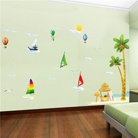 Colorcasa removable wall sticker PVC wall paper ZYPB1920 coconut tree&sailing boat 3D wall sticker art home decor for baby room
