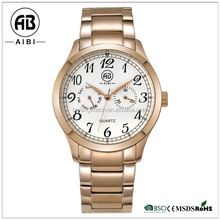 luxury brand fashion rose gold plated man business watch made in china